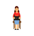 teenager girl sitting on a chair working with vector image vector image