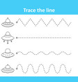 trace line worksheet for preschool kids with space vector image vector image