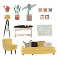 trendy interior design elements modern furniture vector image