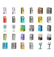 variety of terminals cartoonmonochrom icons in vector image vector image