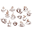 vintage brown coffee cups and pots vector image vector image