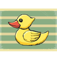 vintage grunge background with bath duck vector image