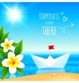 White paper boat near tropical island vector image vector image