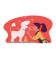woman caring for hygiene of pet animal doggy vector image vector image