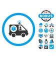 Ambulance Car Flat Icon with Bonus vector image