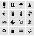 black marking cargo icon set vector image vector image