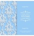 Blue 3d Vintage Invitation Card Template vector image vector image