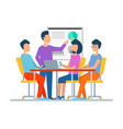 boss and employees on seminar looking at board vector image vector image
