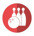 bowling ball pin sport shadow vector image vector image