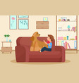 boy kid with pet dog child and doggy friend vector image