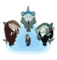 Business sharks vector image