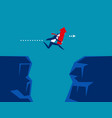 businessman holding red arrow and jumping over vector image vector image