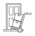 cart with boxes and door delivery service vector image