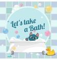 cartoon a kitten taking a bath vector image