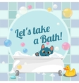 Cartoon of a kitten taking a bath vector image vector image
