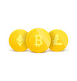 cryptocurrency 3d realistic gold coins set on vector image vector image