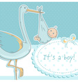 Cute baby boy announcement card with stork vector image vector image