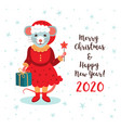 cute rat character christmas card and happy new vector image