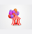 cute tent with colorful balloons vector image