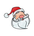 face of santa claus merry christmas character vector image vector image