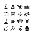 fantasy medieval tale icons mystery magic vector image vector image