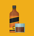 flat bottle of whiskey colorful vector image vector image