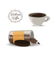 flat set icon jar and cup of coffee vector image vector image