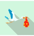 Flying stork with a bundle flat icon vector image