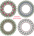 hand drawn floral frames circle natural wreaths vector image
