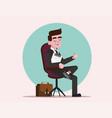 happy boss practicing job interview vector image