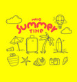 hello summer time doodle elements with lettering vector image vector image