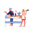hotel staff serving breakfast female characters vector image