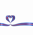 icelandic flag heart-shaped ribbon vector image vector image