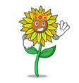 king sunflower mascot cartoon style vector image vector image