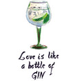 love is like a bottle gin vector image vector image