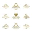 luxury logos monograms crest design templates set vector image