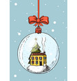 merry christmas banner magic ball and snow house vector image