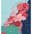 netherlands country detailed editable map vector image vector image