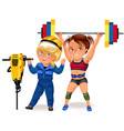 not female professions strong muscular woman vector image vector image