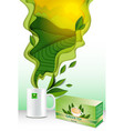 paper cut 3d green tea poster template vector image