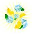 realistic ice lemon and mint vector image vector image