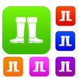 rubber boots set collection vector image vector image
