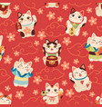 seamless japanese maneki cats pattern lucky asian vector image vector image
