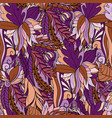 seamless pattern with abstract leaves and flowers vector image vector image