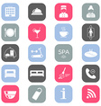 Set of colored hotel icons Flat design Silhouette vector image vector image