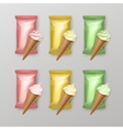 Set of Ice Cream Waffle Cone with Plastic Foil vector image vector image