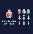 set of pixel art potion bottles red green and vector image vector image