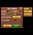 settings screen for slot game vector image vector image