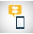 smartphone blue cartoon bubble speech vector image vector image
