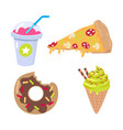 smoothie piece of pizza doughnut ice cream cone vector image vector image